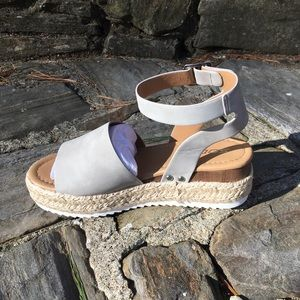 Shoes - Ankle Strap Platform Espadrilles Vegan Leather